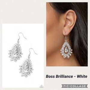Boss Brilliance White Earrings